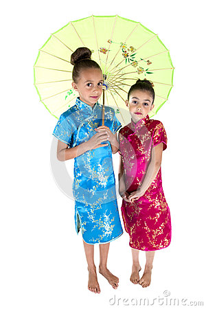 Free Two Beautiful Girls Wearing Asian Dresses Under Umbrella Royalty Free Stock Images - 41802889