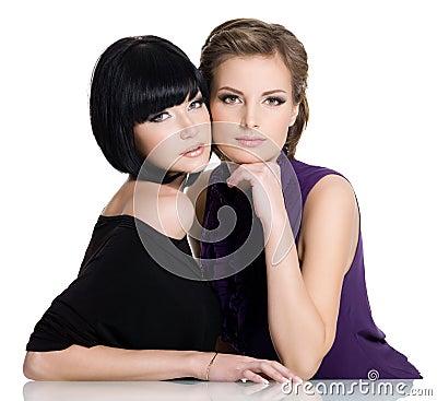 Two beautiful glamour young women