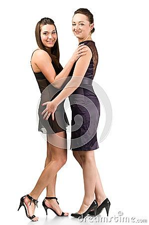 Two beautiful laughing sexy women
