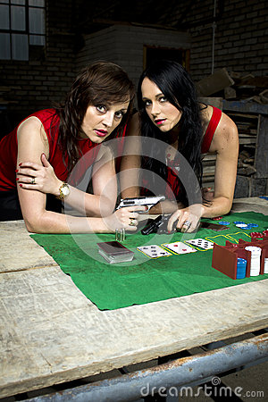 Free Two Beautiful Mafia Ladies With Guns Royalty Free Stock Image - 31167606