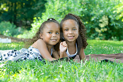 Two beautiful mixed race sisters