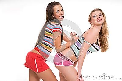 Two beautiful playful girls