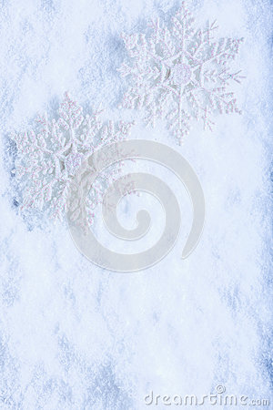 Free Two Beautiful Sparkling Vintage Snowflakes On A White Frost Snow Background. Winter And Christmas Concept Royalty Free Stock Photos - 61487548