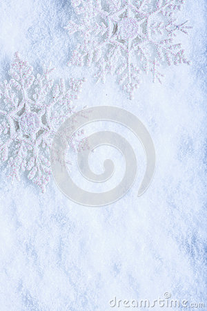 Free Two Beautiful Sparkling Vintage Snowflakes On A White Frost Snow Background. Winter And Christmas Concept Royalty Free Stock Image - 61565396