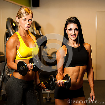 two beautiful women working out with dumbbells in fitness