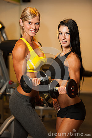 Free Two Beautiful Women Working Out With Dumbbells In Fitness Stock Photo - 46860690