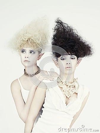 Two beautiful young girl elf
