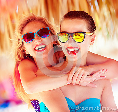 Free Two Beautiful Young Girls Having Fun On Beach During Summer Vaca Royalty Free Stock Photos - 59550858