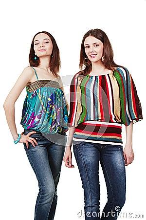Two beautiful young sensual glamour women