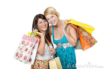 Two beautiful young women shopping.