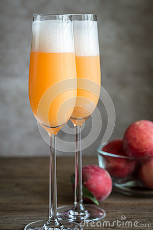 Free Two Bellini Cocktails With Fresh Peaches Stock Photography - 73432292