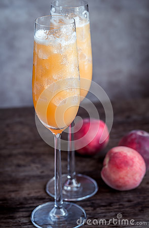Free Two Bellini Cocktails With Fresh Peaches Royalty Free Stock Photo - 73432345