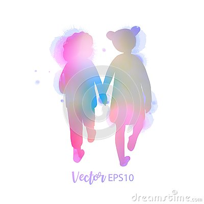 Free Two Best Friends Girls Holding Hands Walking Together.  Friendship. Vector Illustration Royalty Free Stock Photos - 144102458