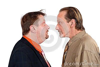 Two bewildered men facing