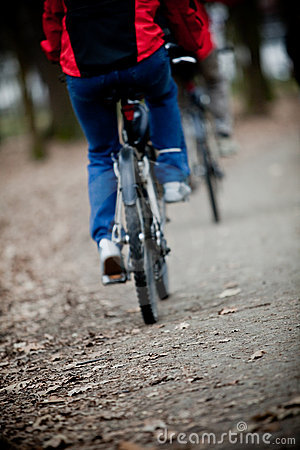 Two bicyclists going on a wood track