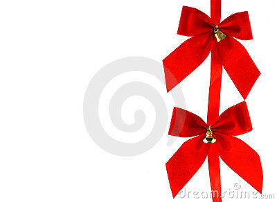 Two Big red holiday bows with bells