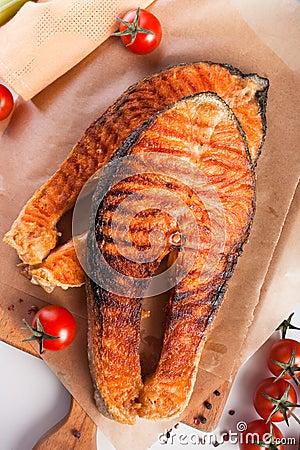 Two big salmon steaks