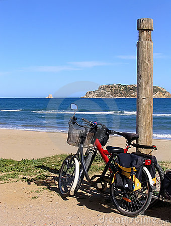 Two bikes on the beach