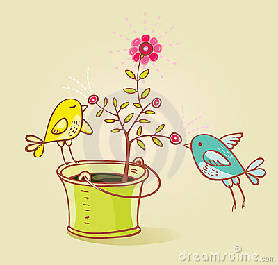 Free Two Birds And Flower Aroma(vector) Stock Images - 8786894