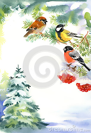 Two birds and bullfinch on the snowy branch
