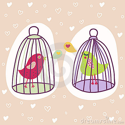 Two birds in cages