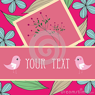 Two birds and flower card pattern design