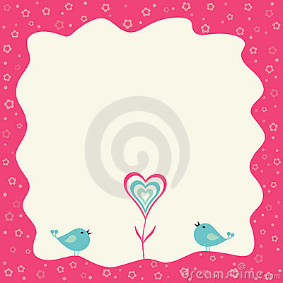 Two birds and heart flower in a retro frame