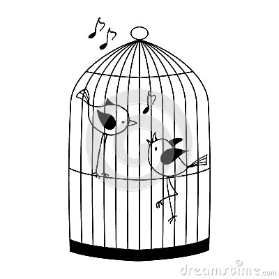 Free Two Birds In A Cage Royalty Free Stock Photos - 64441378
