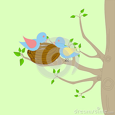 Two birds and a nest Stock Photo