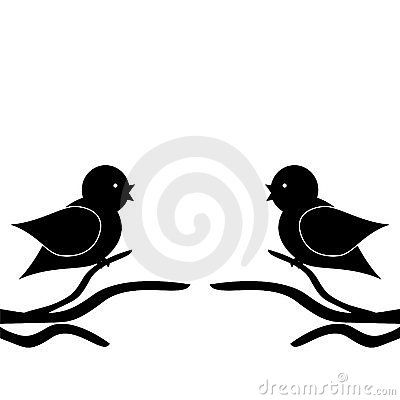 Two birds on twigs