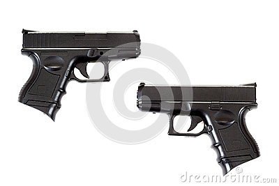 Two Black airsoft guns