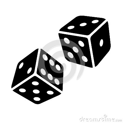 Free Two Black Dice Cubes On White Background. Vector Royalty Free Stock Photo - 39652605