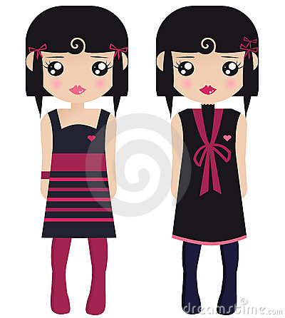 Free Two Black Haired Female Paper Dolls Stock Image - 7661561