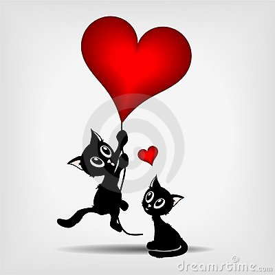 Two black kittens and red heart-balloon