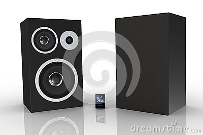 Two black loudspeakers with a music player