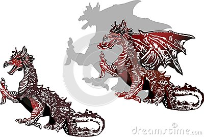 Two  black and red dragons