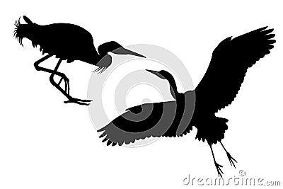 Two black silhouettes of Big White heron