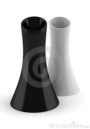 Two black and white vases isolated on white