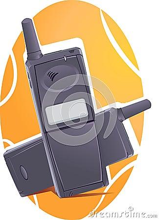 Two black wireless phones