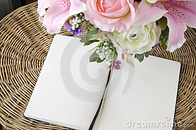 Two blank page with flowers