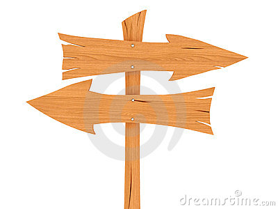 Two blank wooden direction signs