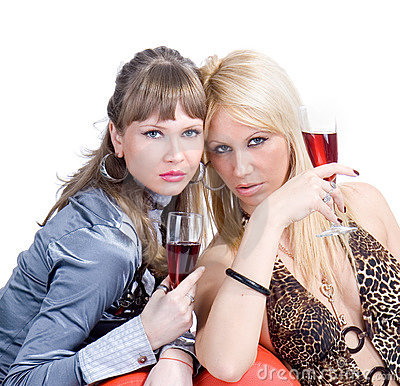 Two blond girls are certify red wine