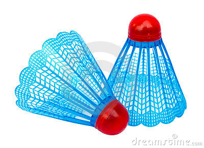 Two blue badminton shuttlecocks