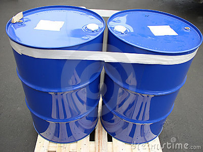 Two blue barrels