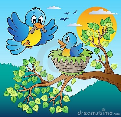 Two Blue Birds With Tree Branch Royalty Free Stock Image