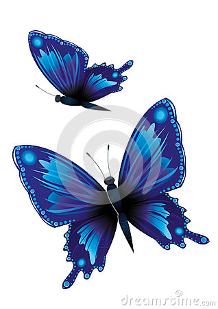 Free Two Blue Butterflies Royalty Free Stock Images - 58850129