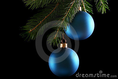 Two blue christmas balls