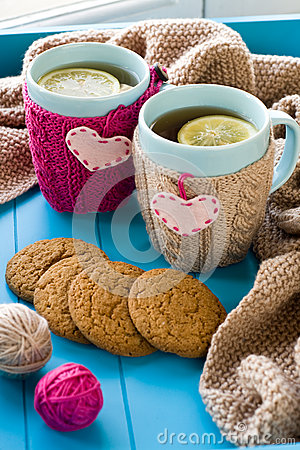 Free Two Blue Cup Of Tea In Knitted Sweater With Hearts Felt Standing Royalty Free Stock Photography - 48704557