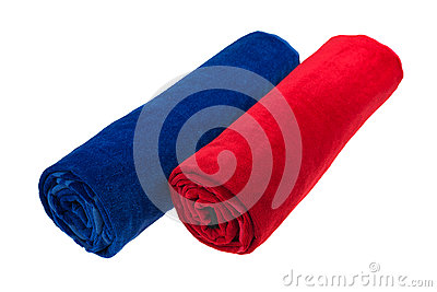 Two blue and red rolled up beach towel isolated
