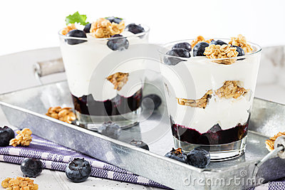 Two blueberry yoghurt desserts